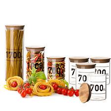 4x Vorratsgläser 0,7L mit Bambus-Deckel Aufbewahrungsgläser Behälter Glas Dosen