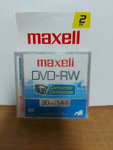 New Sealed Maxell DVD-RW Camcorder Discs 30 Min 2pk