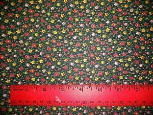 """Vintage? Cotton Fabric Material Black tiny yellow red flowers 35"""" x 99"""" BB"""
