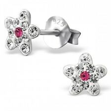 Childrens Girls Sterling Silver Clear & Pink Crystal Flower Stud Earrings Boxed