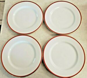 """Crate And Barrel Dinner Plates Set 4 10 1/4"""" White Red Gold Trim Christmas"""