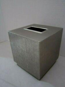 "Textured Silver Tone Metal tissue cover Brink Salsa. 5-1/4"" Square."
