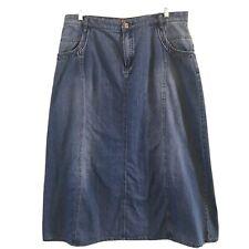 Modest Denim Skirt Sz XL Midcalf Length Front and Back Pockets No Slit