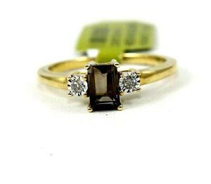 Natural Emerald Cut Smokey Brown Topaz & Diamond Halo Ring 14k Yellow Gold .65Ct