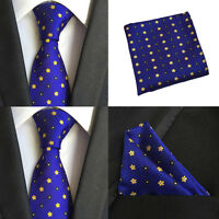 Men Royal Blue Yellow Silk Tie Pocket Square Handkerchief Hanky Set Lot HZTIE077