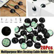 20x Car Windshield USB Cable Sticky Clip Wire Cord Holder Desk Self-Adhesive Set