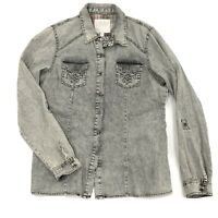 Maurices Premium Gray Button Up Embroidered XL Womens Long Sleeve Embellished