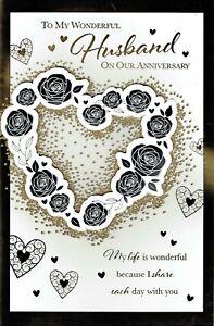 Wonderful HUSBAND ANNIVERSARY ~ FABULOUS LARGE Card Heart Design