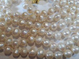 """14KGF 7-8mm White Cultured Pearl 62"""" Necklace Opera Length KNOTTED Silk MINT"""