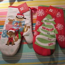 New listing Tag Red (presents) & Green (x-mas trees) Christmas Oven Mitts *New*