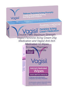 Vagisil Itching Cream 25g Medication & Anti-Itch Medicated 12 Wipes Pack Genuine