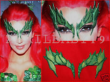 Poison Ivy Mask Leaves GREEN w/ Glitter Trim Leaf  Comic Con Cosplay Fairy Elf