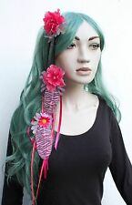 Fleur Dread Cheveux Chute Clip Rose Feather Extensions Goth indie boho Dark