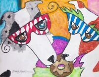 BORDER COLLIE at Mardi Gras Dog Pop Folk Vintage Art 8 x 10 Signed Print