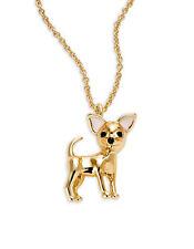 KATE SPADE 12K Gold Plated Haute Stuff Chihuahua Mini Pendant Necklace, Dust Bag
