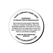 24 Personalized Candle Warning Round Glossy Labels Stickers 1.67""
