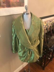 Ladies sz 16W dressy blazer w/ shawl collar &rhinestone accent in Chartreuse Gre