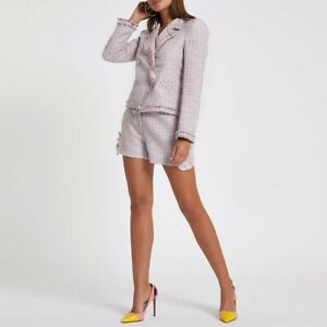 BNWT - RIVER ISLAND - Blazer & Shorts - Lilac Pink Tweed Boucle Suit - 16