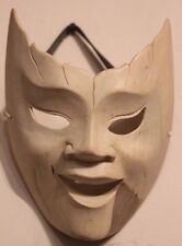HAND CARVED SOLID WHITE WOOD COMEDY DANCE PLAY THEATRE WEARABLE QUALITY MASK