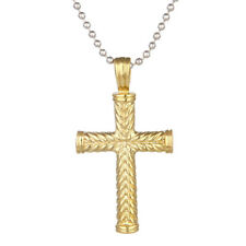 Fashion Unisex Stainless Steel Gold Silver Cross Necklace Pendant Chain Jewelry