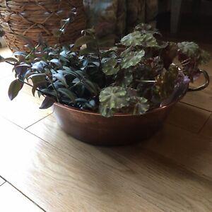 Antique Large Round Copper Pot Double Brass Handled Planter Vintage Rustic Decor
