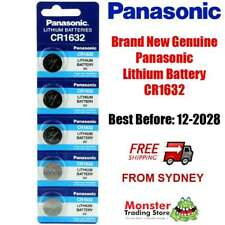 5 x PANASONIC CR1632 3V LITHIUM BUTTON COIN BATTERY BRAND NEW/GENUINE (12/2028)
