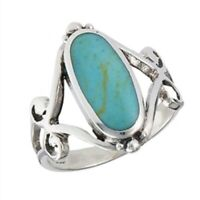 Sterling Silver Oval Turquoise Ring - Free Gift Packaging