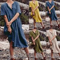 Lady's Plain Cotton Linen Casual Midi Dress Short Sleeve Cotton Linen Sundress