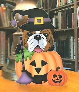 Bulldog in a Pumpkin 7in Decor