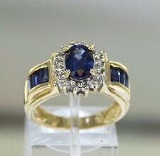 Sapphire Diamond 14k Yellow Gold Cluster Style Ring Size 7 (5.6 gr)