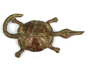 Art African - Antique Weight IN Powder Gold Akan - Crocodile Baoulé 7,7 CMS