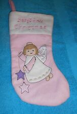 """Baby's First Christmas Pink Angel Stocking - 13.5"""" Long - NEW"""