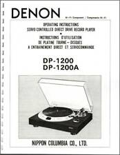 Denon DP-1200 / DP-1200A Turntable Owners Manual