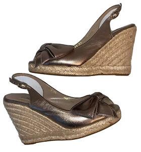 VALENTINO Size 35 Metallic Gold Bow Espadrille Wedge Sandals Women's