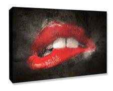 CANVAS WALL ART BITING LIP GRUNGE ARTWORK 30MM DEEP FRAMED PRINT