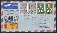 A-28) beautiful FFC First Flight 1984  -  Vienna  to Kuwait with UN franking