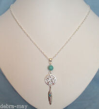 Pentagram Maat Goddess Feather Turquoise Bead Necklace - Truth Justice Order Law