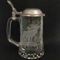 Vintage Cut Glass & Pewter Stein from West Germany with Etched Deer Design