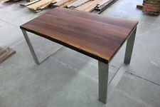 Designer Esstisch Nussbaum Massiv Holz NEU Tisch Beistelltisch Edelstahl Gestell