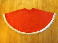 Vintage Hippie Boho Burnt Orange White Fringe Lined Poncho Top Jacket