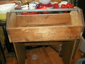 Vintage Tool Box Wood Carpenters Carrying Tote / Caddy