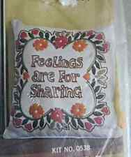 "Paragon Sensitivity ""FEELINGS ARE FOR SHARING"" Linen Stitchery Pillow Kit New"