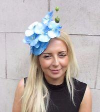 Sky Light Blue Orchid Flower Fascinator Hat Pillbox Wedding Races Vintage 3138