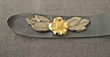 Vintage 80'S Heavy Metal Flower & Leaves Genuine GraY Leather Adjustable Belt