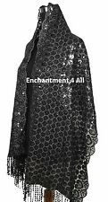 Exotic Oblong Stage Lace Scarf Wrap Costume w/ Dazzling Sequins & Fringes, Black