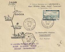 LETTRE PREMIER VOL PAR AIR FRANCE ALGER / TAMANRASSET ALGERIE 1952