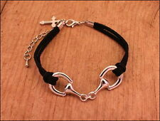 NEW Horse Bit Bracelet Black Leather Band Silver Tone Cross Charm Free Gift Box
