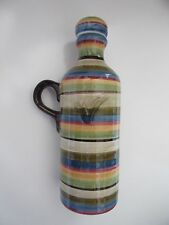 "TABLETOPS Gallery Los Colores Striped 7"" Vinegar Bottle w/ Handle Handcrafted"