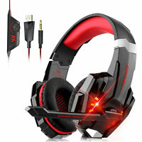 LED Gaming Headset Stereo Headphones Noise Cancelling Mic For PS4 Laptop Switch