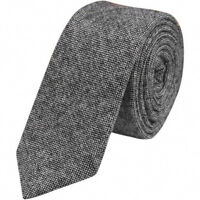 Charcoal Grey Mens Tweed Wool Skinny Tie. Excellent Quality & Reviews. UK.